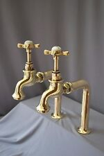 BRASS TALL BIB TAPS  KITCHEN IDEAL BELFAST SINK RECLAIMED FULLY REFURBISHED