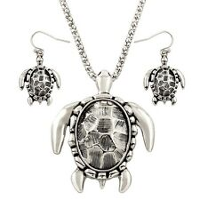 Sea Turtle Necklace Textured Chunky Pendant Set Mesh Chain SILVER Surfer Jewelry