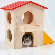 Wooden Beauty House Bed Cage Dual Layer Villa for Rat Hamster Pet Small Animals