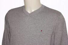 TOMMY HILFIGER Men V Neck Grey Cotton Jumper Sweater, Size M