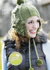 KNITTING PATTERN LADIES CHULLO HAT EARFLAPS BOBBLES POMPOMS CABLE CHUNKY SKM M8A