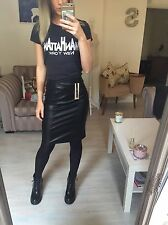 NEW Noisy May Black Leather Look Knee Midi Pencil Skirt Wet Small 8 10