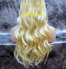 "24"" BLONDE #613 FLIP IN SECRET CLEAR WIRE HAIR PIECE EXTENSIONS  NO CLIP IN/ON"