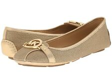 New Michael Kors Fulton Moc Flat Metallic Fabric Gold Size 7.5