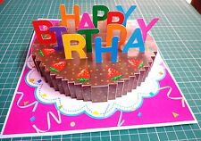 3D Pop up Birthday GREETING CARD Handmade Folding 3_D Gift Cake1