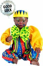 Clown Lucky New Porcelain Afro African American Brown Black Dark Baby Boy Doll