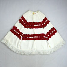 Vintage 70s Bohemian White Red Fringe Thermal Knit Poncho Sweater Cape Jacket S