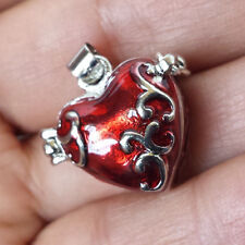 HEART LOCKET PRAYER BOX SILVER PLATED-RED ENAMEL PENDANT R27