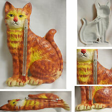 """NEW 4 1/2"""" X 6 1/2"""" Cast Iron Wall Centigrade Thermometer TABBY CAT In Out Doors"""