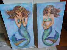 SET OF 2 WATERCOLOR MERMAIDS CANVAS Aqua Coastal Blue Beach Home Decor Signs NEW