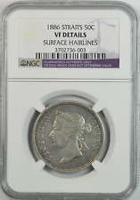 Rare 1886 Straits Settlements 50c Silver Fifty Cents NGC VF Details KM# 13
