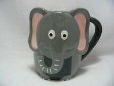 Gray Elephant 16 oz Coffee Tea Cocoa Mug Cup 3-D Figural Hand Painted By Tag New