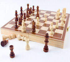 New 30*30cm Standard Game Vintage Wooden Chess Set, Foldable Board, Great Gift