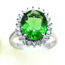 #R1209 Large 2.0ct.Forest Green Helenite Oval Princess Sterling Silver Ring
