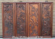 """32"""" Old Chinese Huanghuali Wood Carving Spring Summer Autumn Winter Screen Set"""