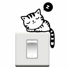 Kids Light Switch Sticker Decal - Sleep Cat Art Home Decor Room Wall Decoration
