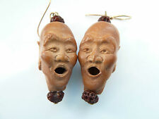 UNUSUAL ANTIQUE JAPANESE CARVED PEACH STONE EARRINGS ON 18ct GOLD HOOKS