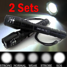 2PCS 6000 Lumens 5 Modes CREE T6 LED Flashlight Torch Zoomable Super Bright USA