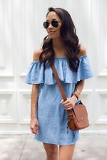 Denim Off The Shoulder Dress Blue Size S Can Fit XS & S US SELLER FAST SHIPPING!