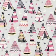 Teepees Pink and Grey Indian Teepee Tents Cotton Fabric Fat Quarter