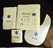 PERSONALISED BABY'S EMBROIDERED BATH TOWEL WITH BIRTH DETAILS SET