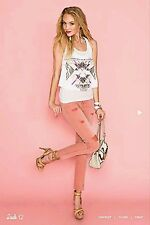 NWT Guess Brittney Ankle Skinny Cutoff Jeans READY PINK size 24