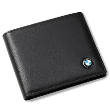 BMW Bifold Wallet Black Genuine Leather with 6 Credit Card ID Holder Men Gift