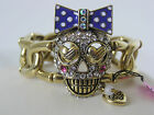 Betsey Johnson Gold Tone Crystal Skull Stretch Bracelet