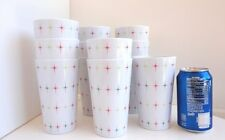 Vintage Retro ATOMIC Hard Plastic Large Drinking Glasses Set of 12