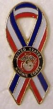 Hat Lapel Push Tie Tac Pin USMC Marine Corps Ribbon with Emblem NEW