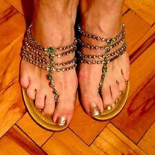 Constanca Basto $298 HEELS Harem Satin & Crystals Caovilla Kitten Heel Shoes