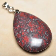 """Extremely Red Natural Bloodstone Jasper 925 18K WG Clasp 1.5"""" Pendant #P13781"""