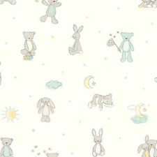 ARTHOUSE BEAR HUGS TEDDY BEAR PATTERN STARS MOON NURSERY CHILDREN WALLPAPER MINT