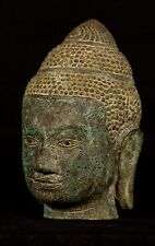 19th Century Antique Southeast Asia Khmer Bronze Buddha Head Statue - 20cm/8""