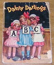 DAINTY DARLINGS Vintage 1911 ABC Book Samuel Gabriel Sons Linen Pages Color Ilus