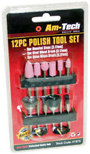12pc Polish Tool Set Polishing Kit - 6 Mounted Stones, 3 Steel & 3 Nylon Brushes