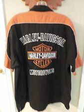 HARLEY DAVIDSON MENS SHIRT FULLY EMBROIDERED PRESTIGE GARAGE SHIRT SIZE XL USED