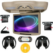 "Beige 12.1"" HD Roof Mount Car DVD Player FM TV Transmitter SD Games+2 Headphones"