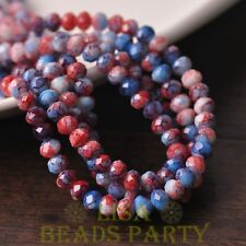 Hot 50pcs 6mm Glass With Color Coated Rondelle Loose Colorful Beads Red&Blue