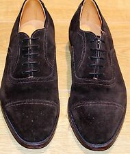 UK7.5/US8.5/EU41.5 Ducker and Son, Brown Suede Semi-Brogue Oxford Shoes