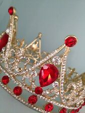 Full Gold Plated Crown . Red Crystals . Stage Prop / Prom / Wedding Gold Crown