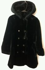 Vtg Davis of Boston Womens L  Black Faux Sheared Beaver & Lamb Fur Jacket Coat
