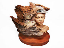 Her Water World Original Rick Cain Wood Woman Ocean Dolphin Sculpture 2014