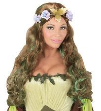 Waldelfe Perücke mit Blumenkranz NEU - Karneval Fasching Perücke Haare
