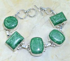 "Handmade Natural Malachite Gemstone 925 Sterling Silver Bracelet 8.25"" #X16164"