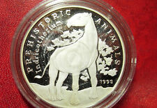 Rare 1993 Cambodia Large Silver  Proof 20 riels Prehistoric Horse-Indricotherium