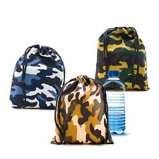 Lot of 12 Camo Camouflage Polyester Drawstring Light Bags Loot Sack Party Favors