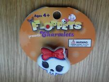 NEW FLOPPETS Charmlet - Skull with red bow Collectable that you can take anywher