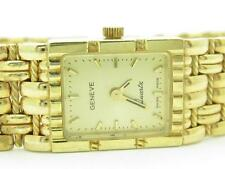 Solid 14k Yellow Gold Geneve Quartz Basket Weave Cable Design Rectangular Watch