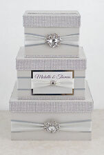 Card box  Wedding Card Box  Wedding money box - 3 tier - personalized -  silver